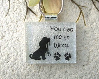 Dog Paws Necklace, Dichroic Jewelry, Fused Glass Jewelry, Dichroic Pendant, Woof Necklace, ccvalenzo, OOAK, 091717p101
