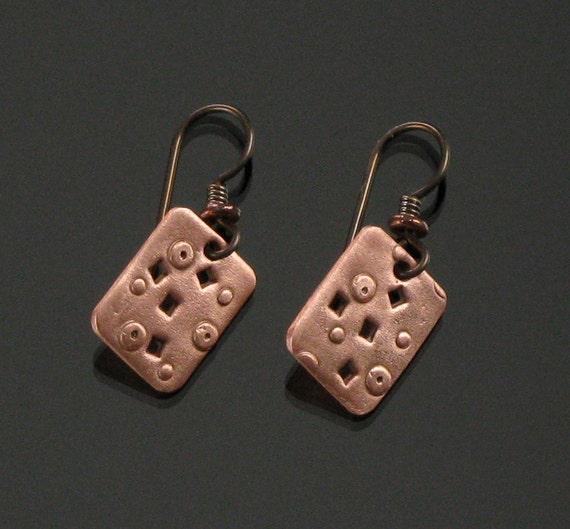 Copper Metal Earrings, Unique Metal Jewelry Dangle Earrings, Drop Earrings, Rustic Copper Earrings, Rustic Earrings, Unique Modern Earrings