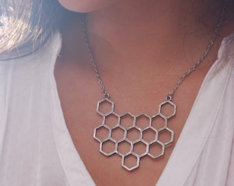 Honeycomb Necklace! Geometric necklace, silver beehive necklace, honeycomb bee pendant, honeycomb jewelry.