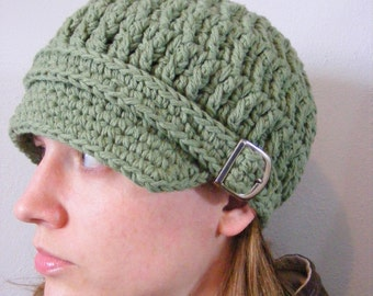 Olive Green Newsboy Womens Newsboy Hat Crochet Newsboy Cap Knit Silver Buckle Womens Hat Adult Hat Adult Newsboy Olive Newsboy Cotton Hat