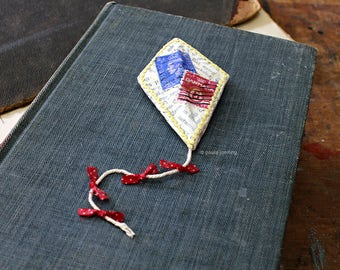 Stitched Paper Mache Brooch Pin Kite with Stamps Brooch Book Jewelry Miniature Wall Art Sculpture Vintage Postage