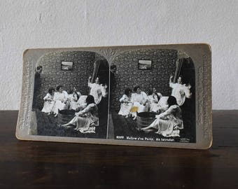 Vintage Halloween Apple Bobbing Party Victorian Stereograph Photo