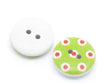 5 green wood red and white polka dot buttons - round 15 mm 2 holes