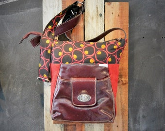 Available bag / satchel / handbag / purse / red / faux leather / vintage