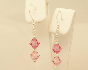 Rose (Pink) and Light Rose Swarovski Crystal & Sterling Silver Earrings