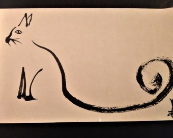 Painting cat India ink on rice paper