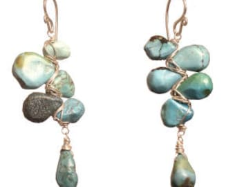 Turquoise Branch Drop Gemstone Earrings Gift Guenevere 105