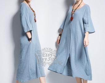 Anysize front slit soft linen & cotton dress plus size dress plus size tops plus size clothing spring summer dress Y142