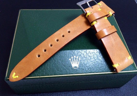 New style!! Hot item!! Vintage LV Leather made watch Strap for Rolex, IWC - 20mm lug width, Best Quality!