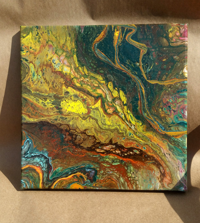 Abstract Acrylic painting 12 x 12 inch Blue-Aqua-Orange
