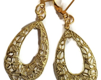 Teardrop filigree cut out raw brass handmade earrings for pierced ears nickel free