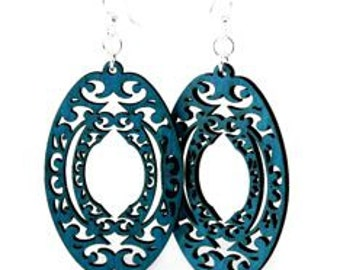 Decorative Oval - extreme Detail - Laser Cut Wood Earrings