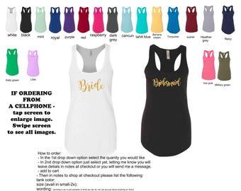 Bride tank top, bridesmaid tank top, bride tribe tank top, bachelorette party shirt, bridesmaid gift, racerback tank, designed as you wish