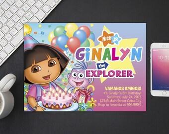 Dora The Explorer Invitation, Dora The Explorer Birthday, Dora The Explorer Invites, Dora The Explorer Party Printables