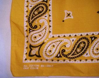 Vintage GOLD Fast Color cotton Bandanna • paisley & tulip bandana