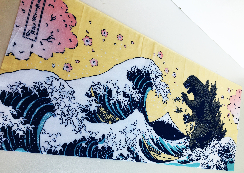 Godzilla tenugui japanese fabric, shin godzilla birthday party ...