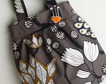 Gathered Bubble Shoulder Shopper Bag in Brown and Grey