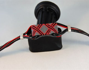 Men/women black/grey/red beads and leather bracelet