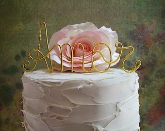 AMOR Wedding Cake Topper, Love Wedding Cake Decoration, Vintage Wedding Decoration, Wine Wedding Cake Topper, Rustic Love Centerpiece