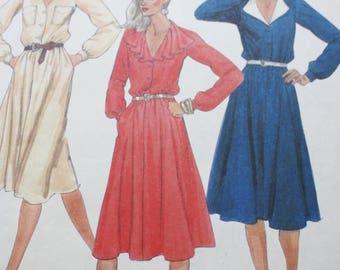 Button Front Dress Sewing Pattern, McCall 7708,  1980s Dress Pattern