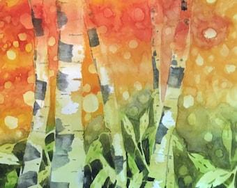 Aspen Tree Original Watercolor Painting, Wall Art, Dining Room Decor,  Colorado Artwork,  Modern Fine Art, Western Landscape, Office Artwork