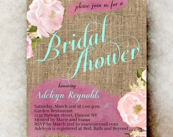 Burlap Bridal shower Invitation printable - Rustic bridal shower, watercolor bridal shower, cottage Bridal Shower, Floral Bridal Shower