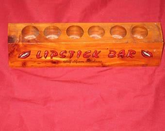 1960's Gulf Shores Alabama Souvenir Lipstick Bar Lipstick Wooden Cedar Holder Display Wonderufl Graphics and Design! #BV