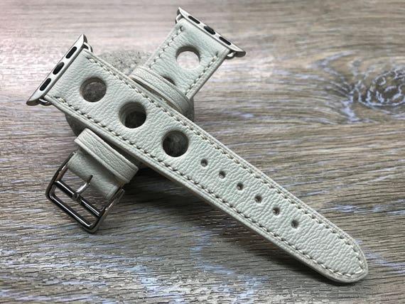 Apple Watch Band, Single Tour Rallye, Apple Watch 38mm, Leather Watch Band, Apple Watch 42mm, Apple Watch Strap, Cream White, iwatch 38mm