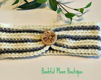 Handmade Crochet Baby Headband in Yellow and Gray Finished with a Wooden Button, Made to Order, All Colors, photo prop, Baby Gift