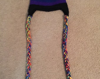 Crocheted rainbow beanie with braids