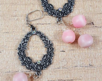 Pink dangle upcycle assemblage earrings shoulder dusters