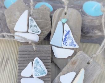 Beach Christmas Decorations, Nautical Christmas, Sail Boats & Driftwood, Christmas Gifts, Set of 4
