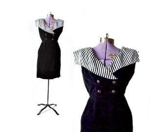 1950s Dress / Black White Dress / Velvet Dress / XS 50s Dress / 1950s Dress Vintage Clothing Women Dress Girls Size 12 Dress / Party Dress