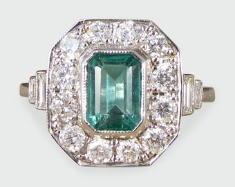 Contemporary, Art Deco Style Emerald and Diamond Cluster Ring in 18ct White Gold RG566