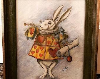 Framed original drawing white rabbit                                               Alice in wonderland