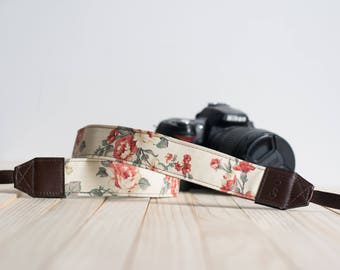 Cream Floral Vintage Camera Strap for DSLR  , Mirror Less ,Compact