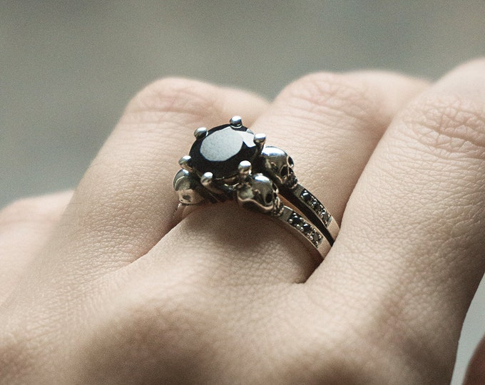 Skull Engagement Ring with Black Spinel and Natural Black Diamonds, Diamond Skull Ring, Sterling Silver Goth Rock Wedding Ring, Memento Mori