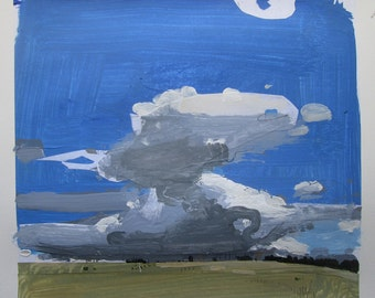 Rise, Original Spring Landscape Collage Painting on Paper, Stooshinoff