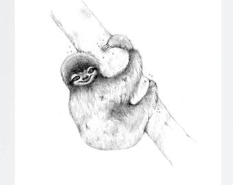 MOUNTED PRINT 6 x 8 mini Happy Sloth sketch Print