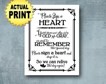 Sign a Heart Wedding Sign   PRINTED Black white wedding signage, Sign a heart print,  wedding guestbook alternative, Wedding Decorations
