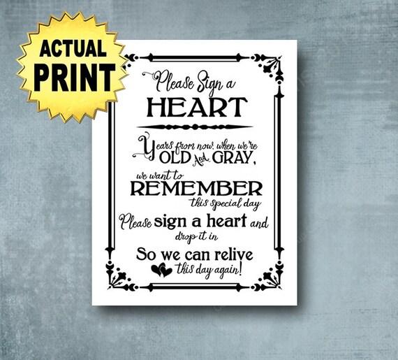Sign a Heart Wedding Sign | PRINTED Black white wedding signage, Sign a heart print,  wedding guestbook alternative, Wedding Decorations