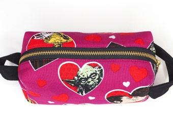 Star Wars Love Small Boxy Bag w/ Metal Zipper - Cosmetics Bag / Pencil Bag / Art Supply Bag