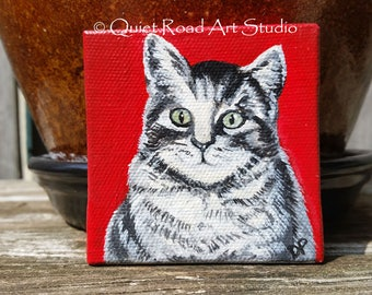 Cat Miniature Canvas Art Painting, original acrylic cat painting, cat themed gift, cat lover gift, little cat painting, gift under 25