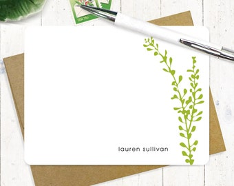 Personalized Note Card Set - personalized stationary - flower stationery - modern notes - floral - set of 12 flat note cards - LEAFY STEM