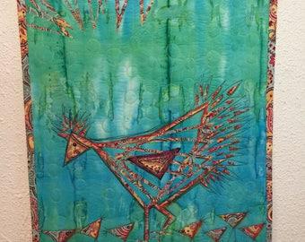 "Art Quilt, ""Chickens"",  Fused Geometry, Fiber art, Wall Hanging"