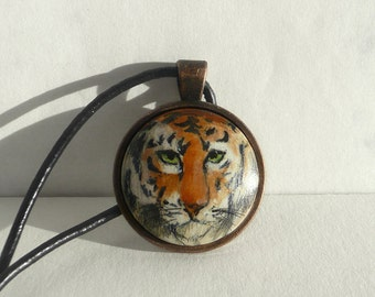 Hand Painted Animal Necklace, Tiger Necklace Tiger Pendant, Small Painting Jewelry, Animal Art, Wild Cat Necklace Handmade