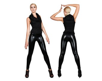 Leather Leggings; Shiny Black, Spandex Pants, Rocker Leggings, Post Apocalyptic, Metallic Leggings, Black Leggings Long, Mad Max, LENA QUIST
