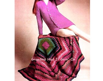 Big Granny Squares Crochet Afghan Pattern - Throw Blanket - Vintage Lap Blanket - PDF Instant Download - Digital Pattern - 70s Retro Afghan