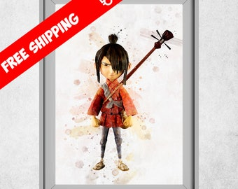 Kubo Poster, Kubo and the Two Strings Print, Leika Movie Wall Art, Cartoon Decor, Children Room Decoration, Nursery Wall Art,  Kids Room