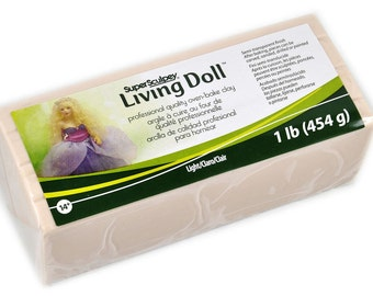 SUPER SCULPEY Living Doll Polymer Clay 1 Pound Block LIGHT Beige Flesh Making Dolls Oven Bake